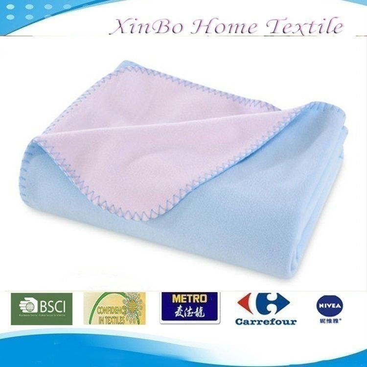 2013 Jiande Soft Blue&Pink Double Colors & Double Ply Anti-pilling Polar Fleece Children Throw/Blanket
