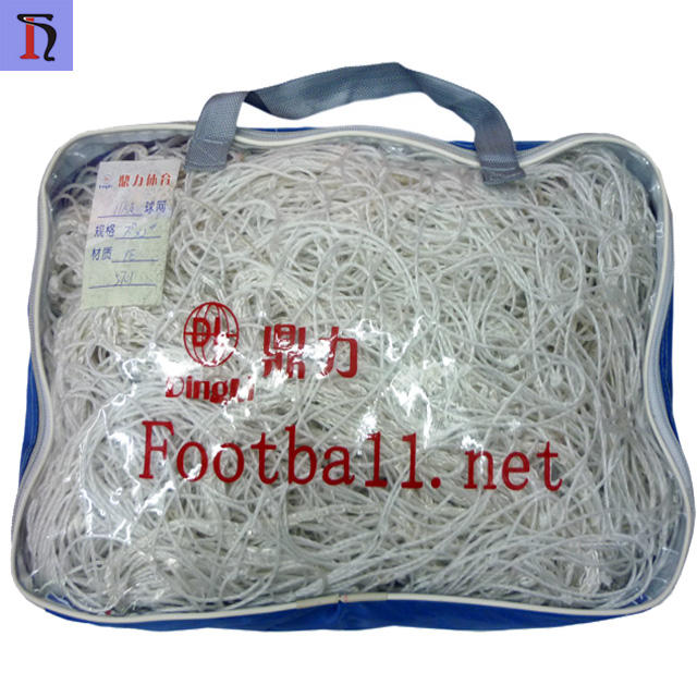yiwu futian market wholesale good quality soccer goal net design your logo PE football net for 11 players
