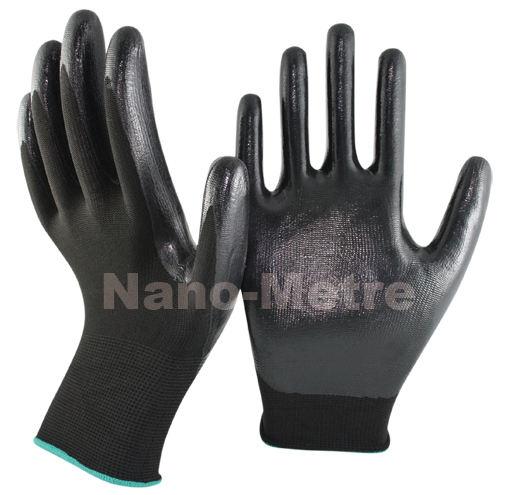 黒nmsafety13ゲージcaoted安全作業手袋滑らかなニトリル耐油性