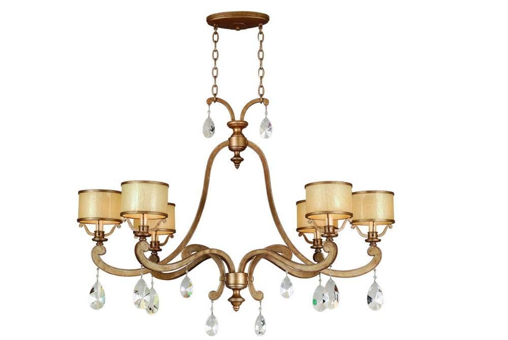 Romano antiguo de Plata 6 luces de techo de la cortina de tela de vela candelabros con gota de cristal