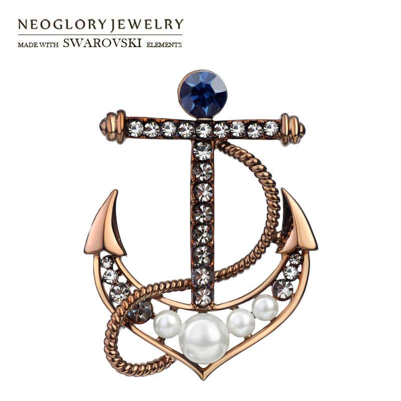 Âncora de ouro broche com pearl & cristal para unisex vestindo