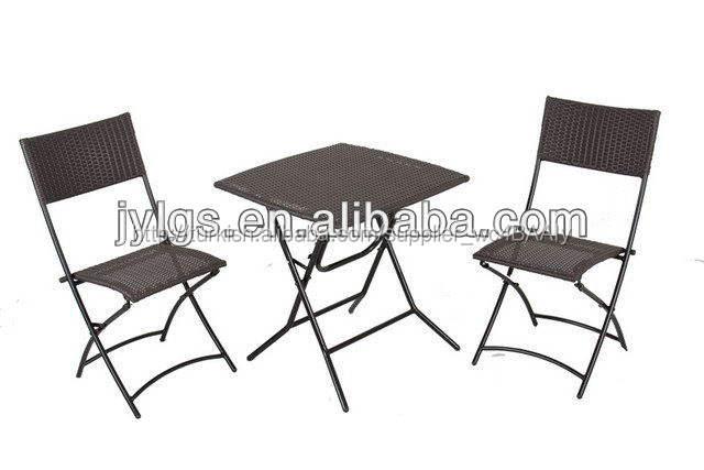 Rattan mobilya 3- parçalı kişilik 2 sohbet grubu veranda katlanır bistro seti