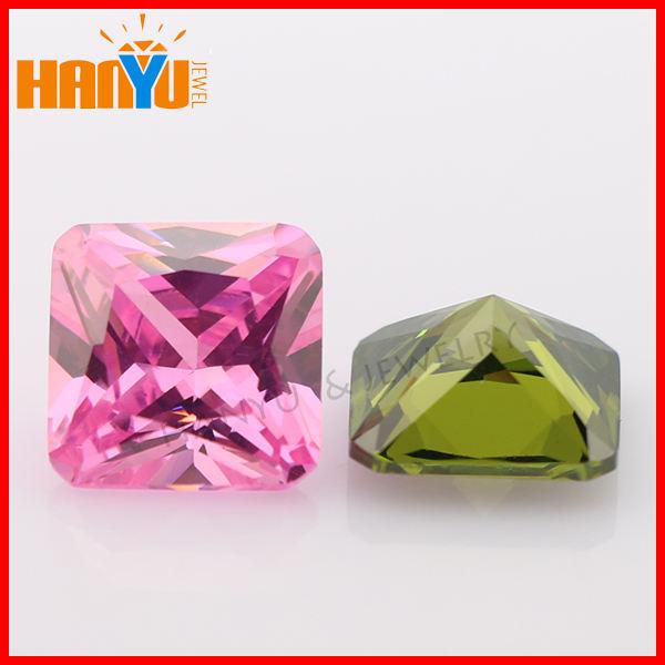 Gemstone cz colorido praça princesa cut para as indústrias de vestuário e jóias