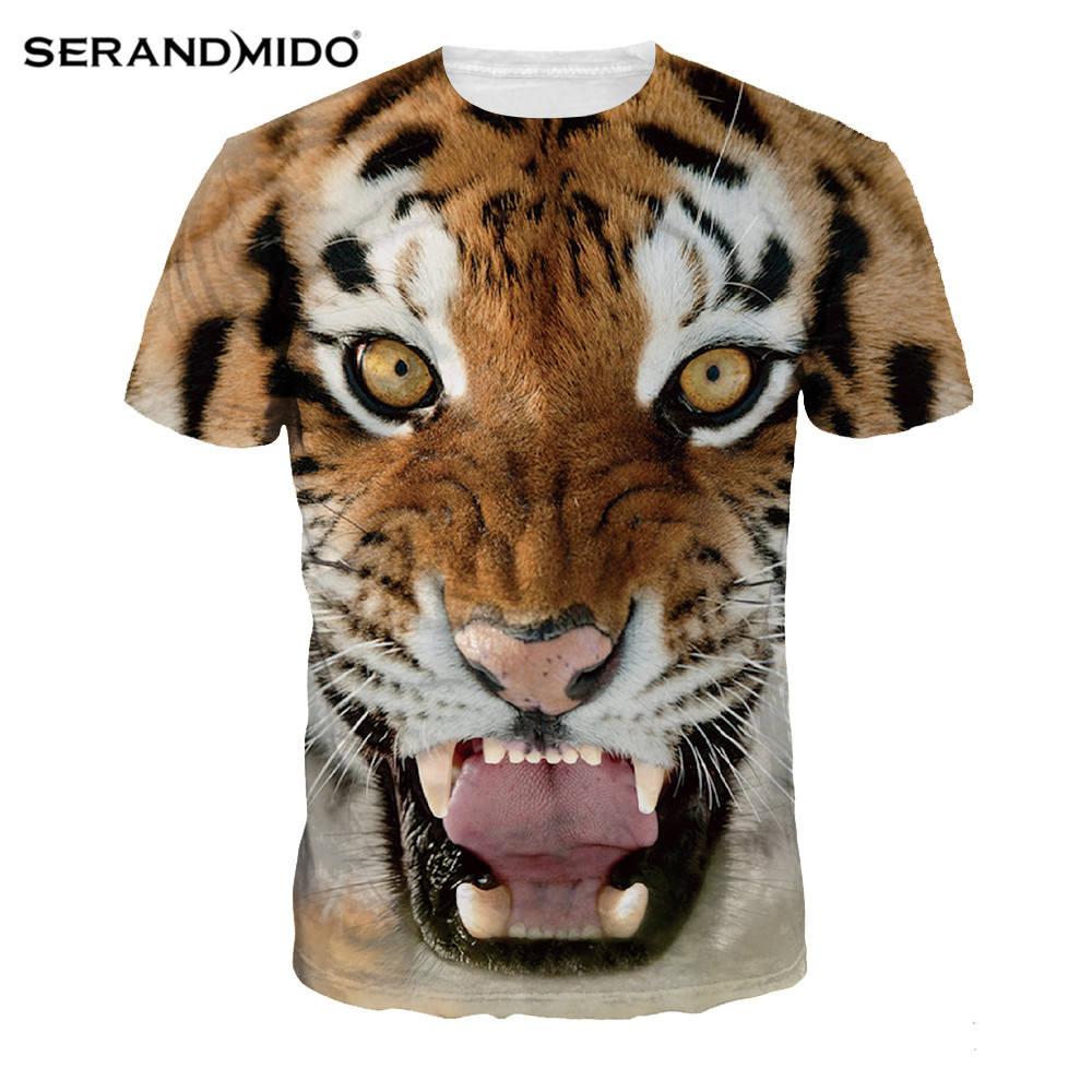 Mais recente Impressão Tigre Dylan Mulheres Respirável T-shirt de Impressão Digital de Malha Ocasional Impressão