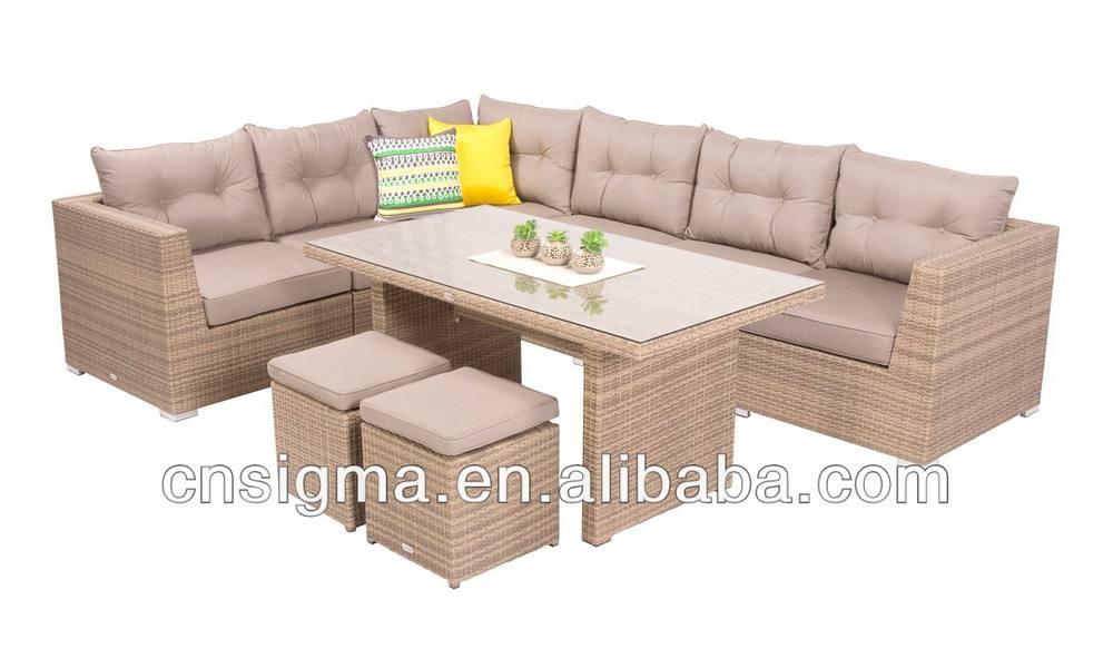 2014 Mobiliario Moderno Jardín Sofá 9 pc Mimbre Mesa de comedor Sofá Multijugador Mueble de casa