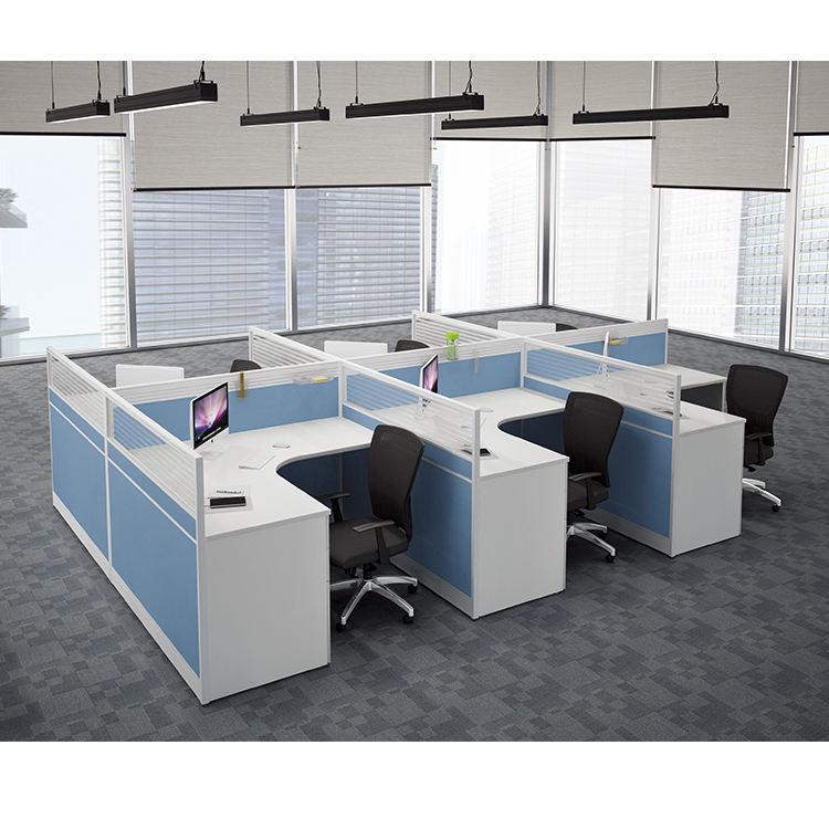 Aluminium partition bürozelle workstation modular büroarbeitsplatz für 6 personen
