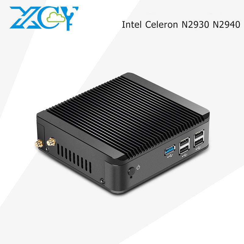 XCY Sans Ventilateur Quad-Core N2930 N2940 ubuntu mini pc ordinateurs portables ordinateur Barebone windows10