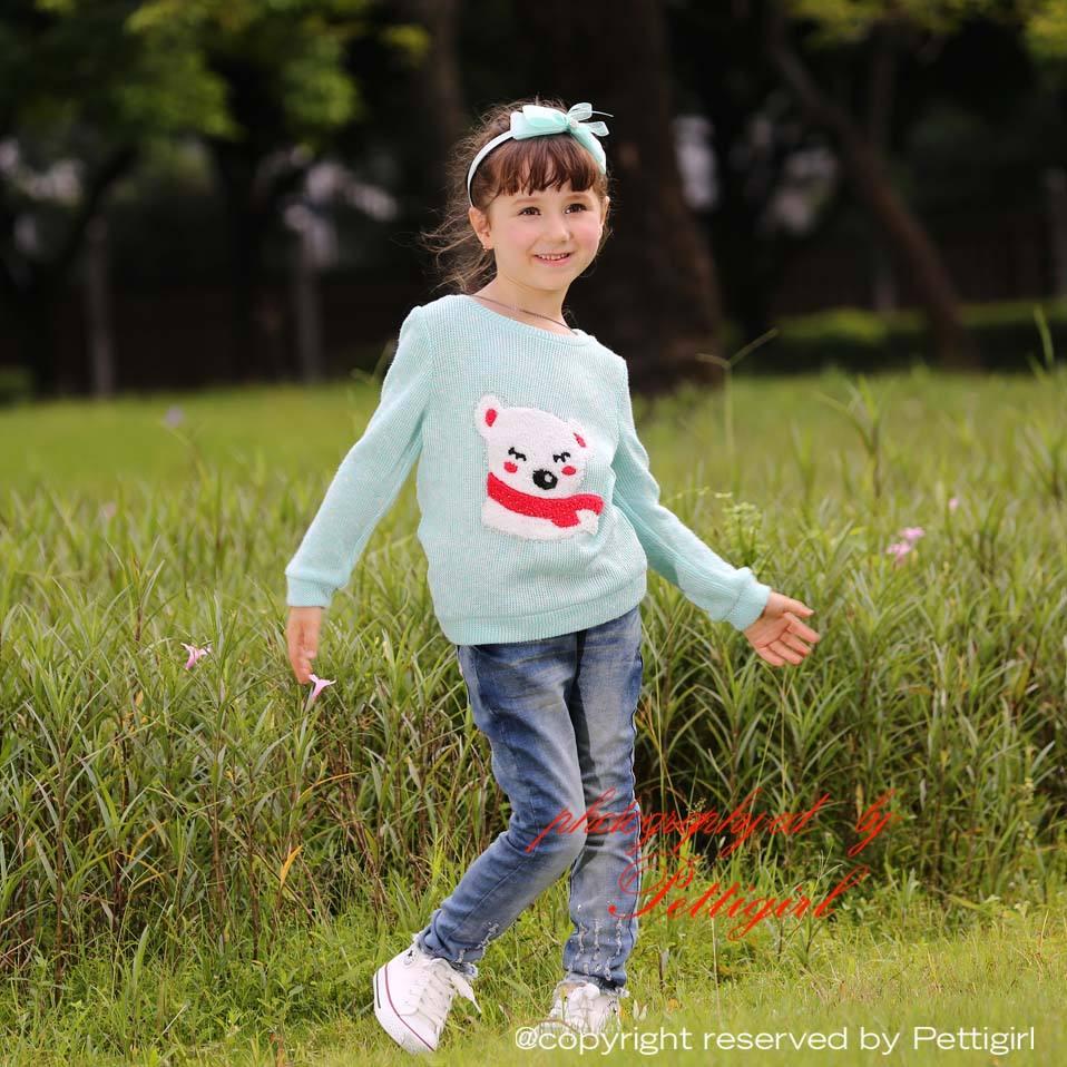 Pettigirl новинки осень 2015 голубой свитер с длинными рукавами для девочки и украшенный мишкой детская одежда 3-8 лет