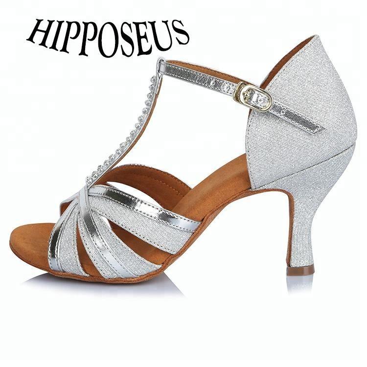 41203 Bạc Cao Heel Satin của Phụ Nữ Samba Vũ Shoes