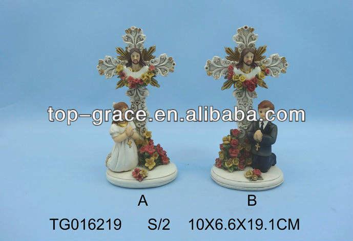 Религиозные украшения смола общение Иисуса polyresin <span class=keywords><strong>ремесел</strong></span> с крестом