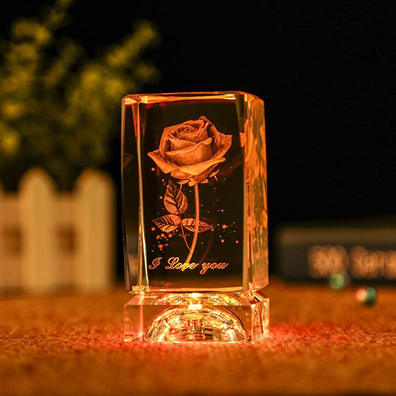 TOP08 3D grabado láser cubo de cristal de boda regalo de cumpleaños, recuerdo regalo amigo San Valentín día expresión de amor