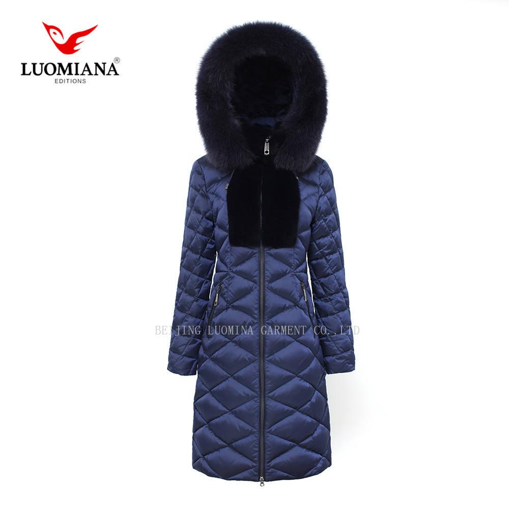 Alta calidad marca relleno <span class=keywords><strong>azul</strong></span> oscuro Cuello de piel con capucha invierno largo abajo chaqueta