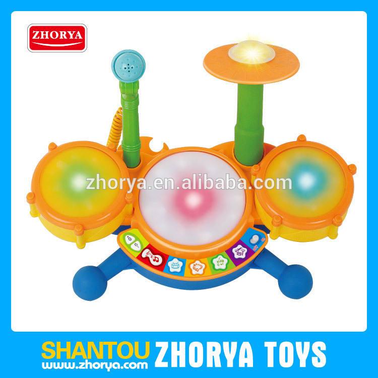 Português dos desenhos animados de plástico <span class=keywords><strong>musical</strong></span> jazz drum set brinquedos educativos pré escolares com luz para as crianças