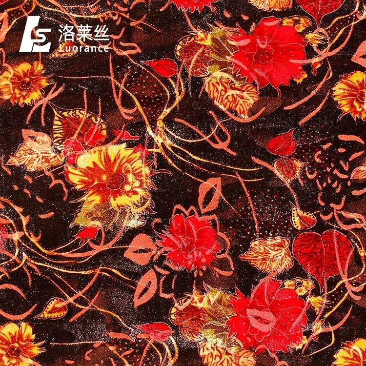 Vendita caldo confortevole tessuto in velluto floccato per il panno di seta di burnout