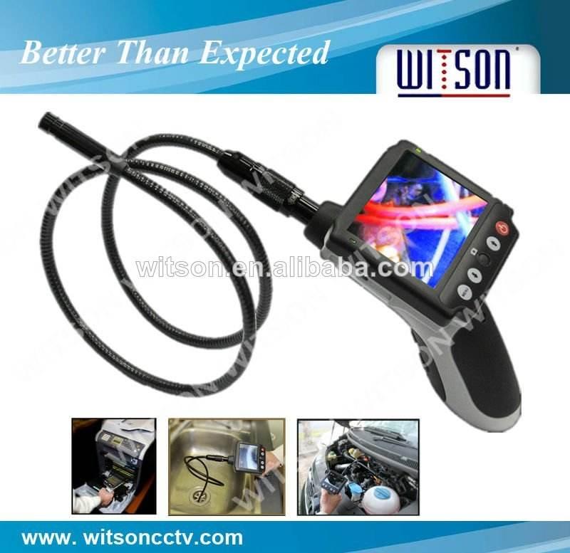 Vente chaude!!! Witson industriel endoscope flexible, détachable 3.5'' moniteur avec carte sd d'enregistrement vidéo