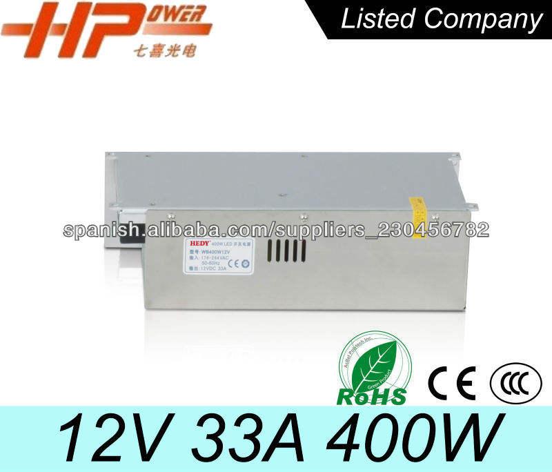 Única salida de tensión constante de la venta de la fábrica de RoHS del CE de alta potencia AC DC 12V 33A llevó cambio de fuente