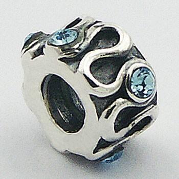 Cuenta de Plata de Ley Ondulacion Brillante con Cinco Cristales Austriacos