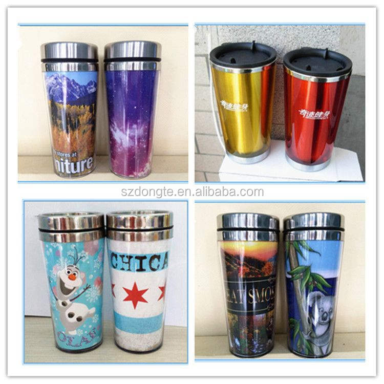 2015 Made in china barato de plástico taza anuncio taza