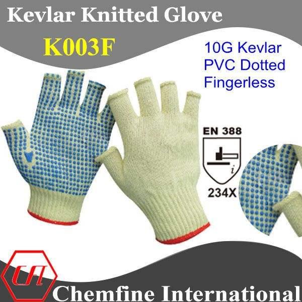 Resistente corte 10g kevlar malha luvas sem dedos azul com pontos de pvc na palma/en388:234x