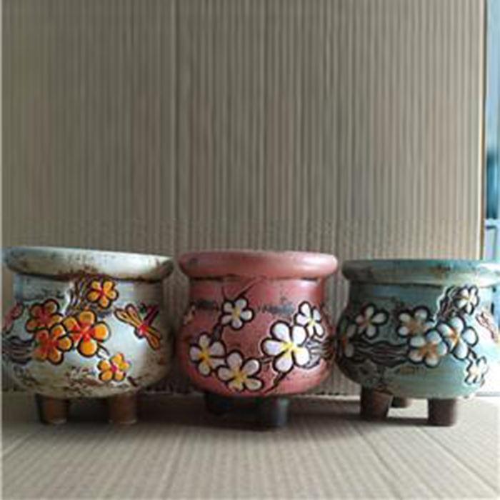 Jardín coreano olla decoración de flores pintado a mano de cerámica macetas de flores