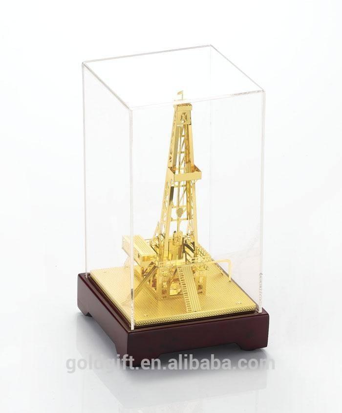 هدايا ذهبية 2015 exquiste آلة النفط مع غطاء زجاجي
