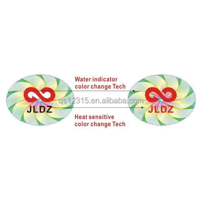 Seguridad calor sensible/indicador de agua cambio de color etiqueta