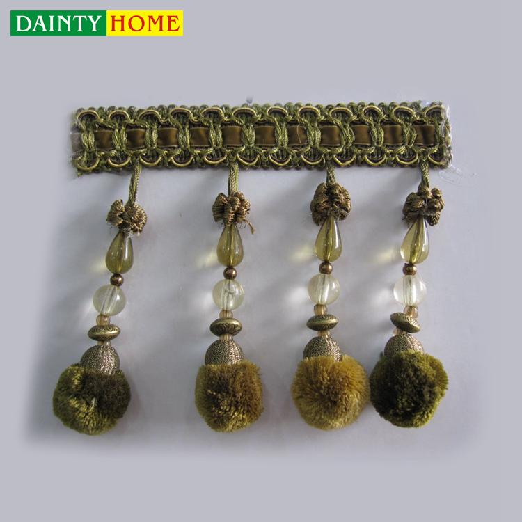 Acessórios da cortina Material de Poliéster Verde Frisada Pompom Borla Franja
