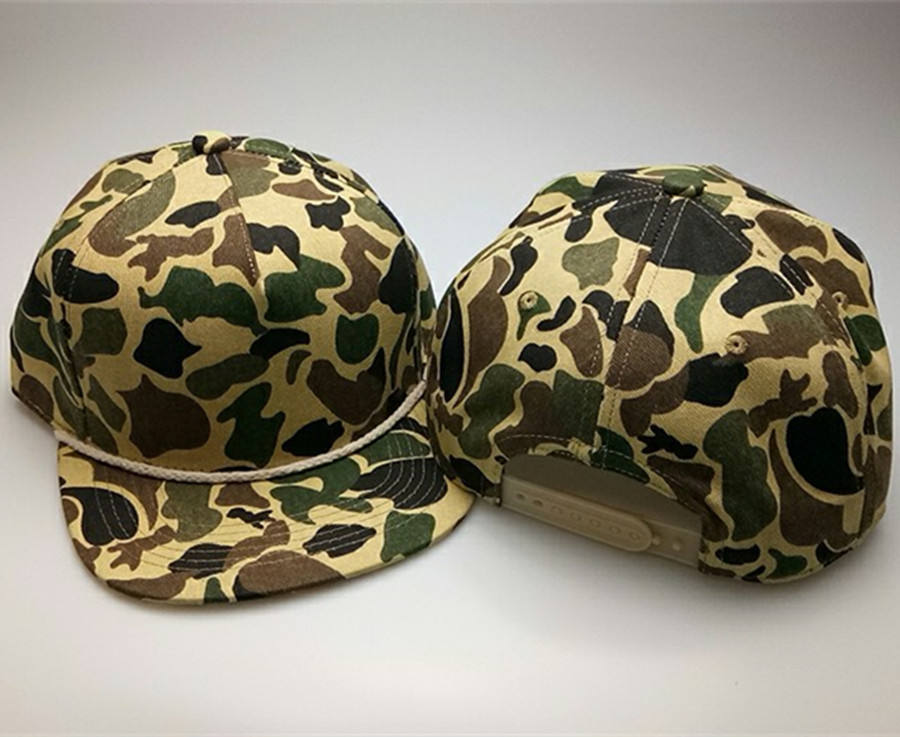 Original algodón SnapBack encargo cuerda sombrero blanco CAMO Cap con cadena
