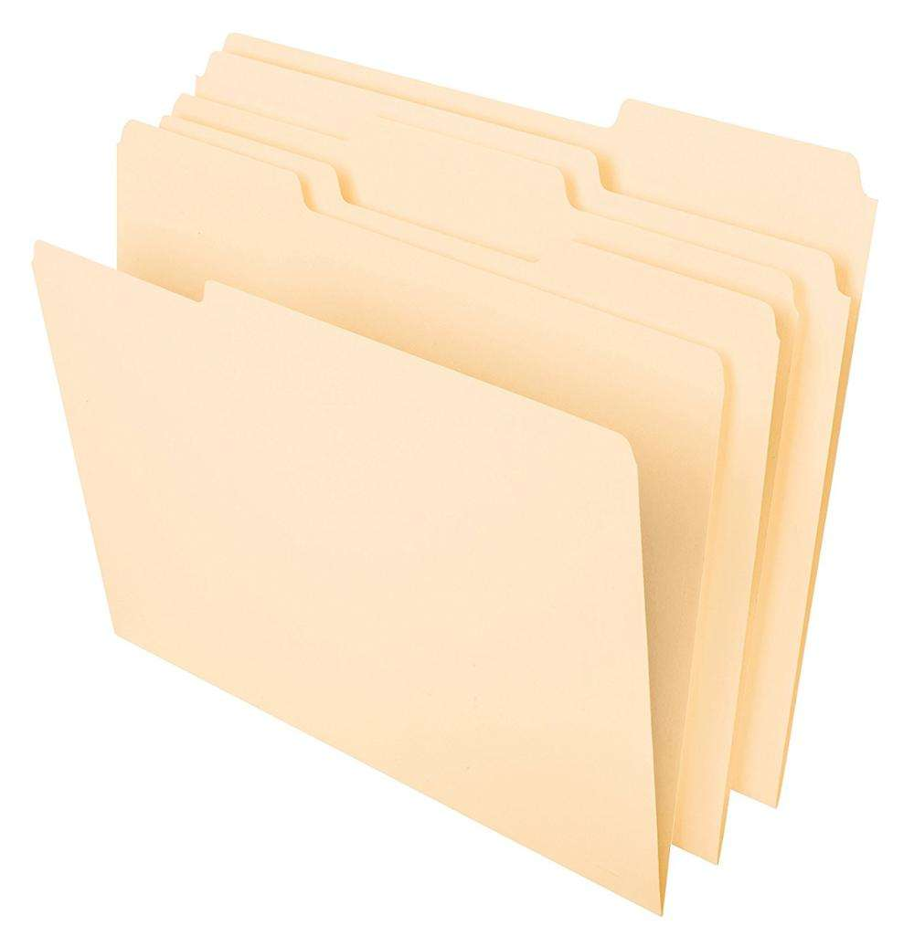 "Classic Manila File Folders, Letter Size, 8-1/2 ""x 11"", 1/3-Cut Tabs in Left, Right, Center Positions, 100 Per Box"