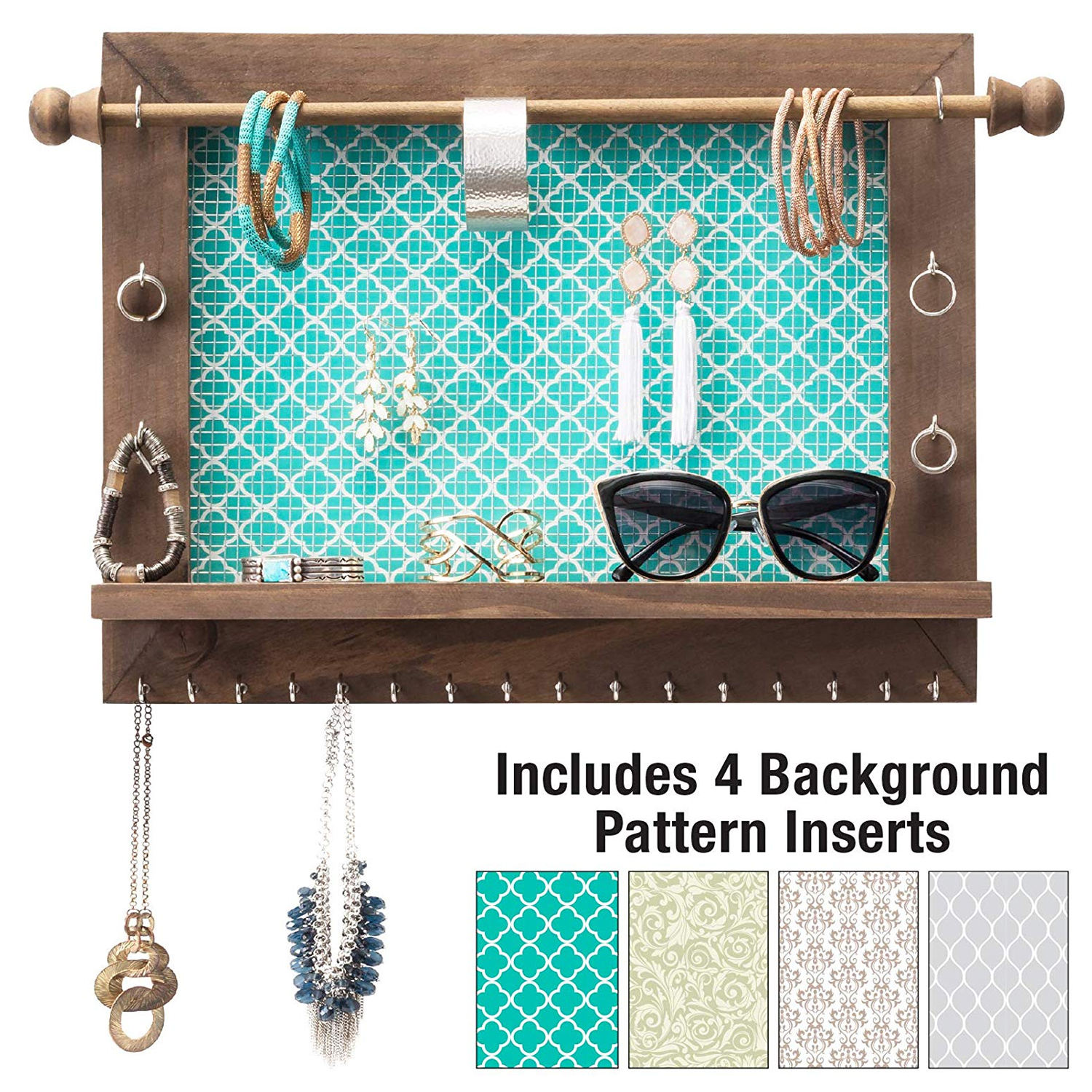 Rustic Wall Mounted Jewelry Organizer Alternative with 5 Background Options Bracelet Holder Earring Organizer
