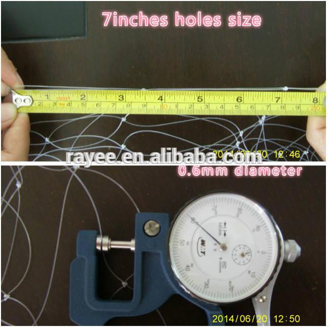 0.70mm x 14mm cuadrados nylon monofilamento red de pesca utilizados como pantallas para proteger a los niños