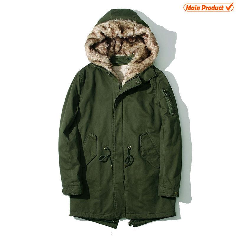 новейшие разработки зимний из искусственного меха с капюшоном внутри Роскошные Военная куртка Тренч Длинные пальто для мужчин