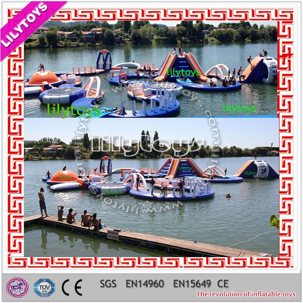 Fuente de alimentación hight quality gigante inflable comercial flotante parque acuático