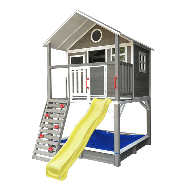 waterproof prefab garden cheap children outdoor kids wooden playhouse with plastic slide