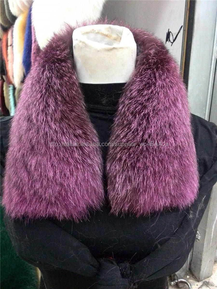 Lantian di pelliccia naturale grande blu collo di pelliccia di volpe/bordi in pelliccia per il cappotto invernale/parka