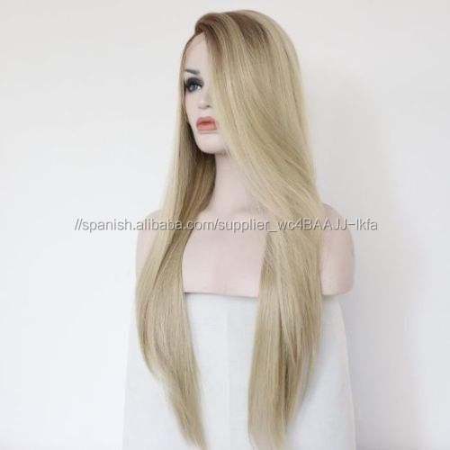 Larga recta del pelo humano ombre rubia <span class=keywords><strong>Peluca</strong></span> de encaje para la venta