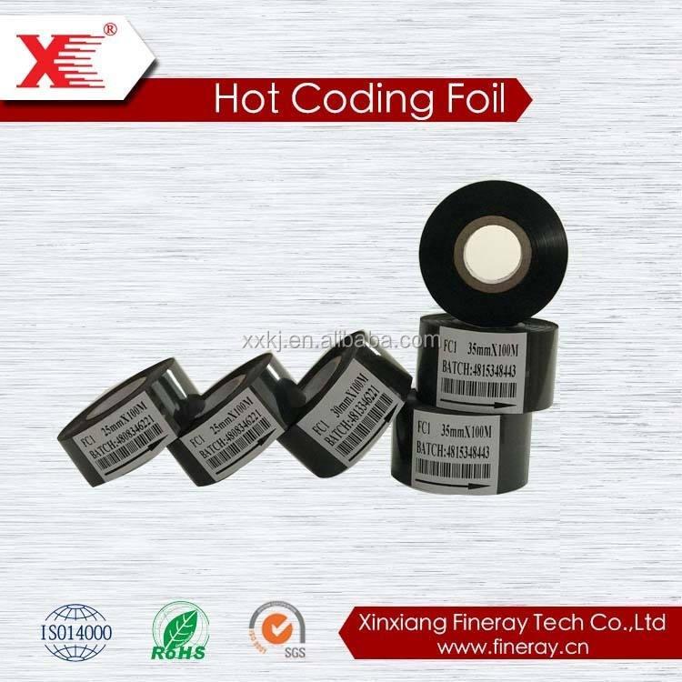 Código fc2 cera resina preto folha de carimbo quente de papel térmico rolos de fita jumbo