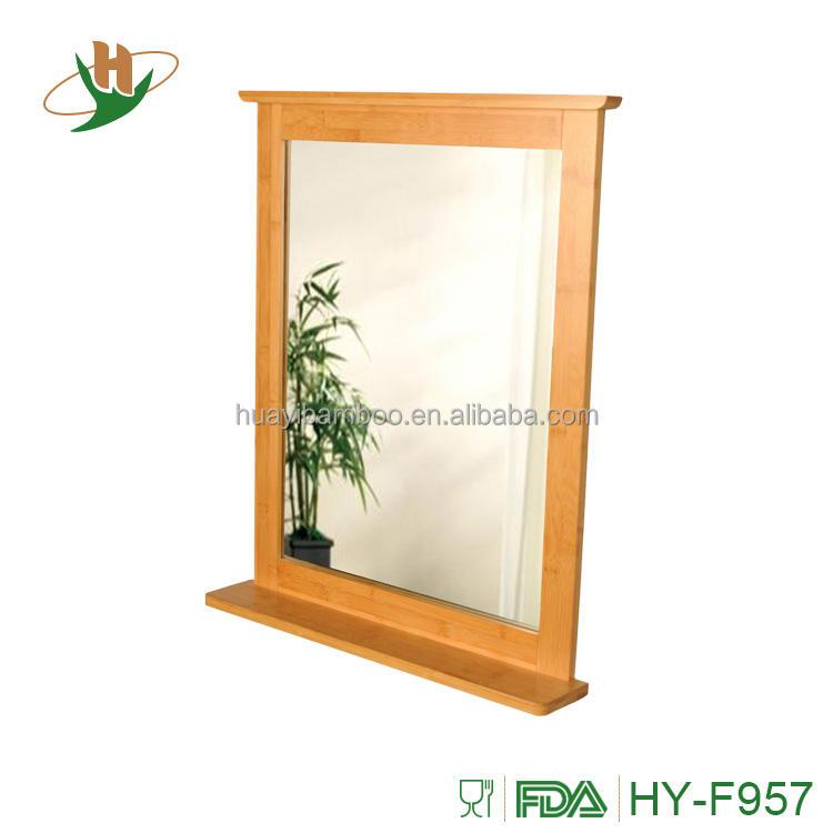 Elegante espejo de pared ecológico de bambú espejo con barra