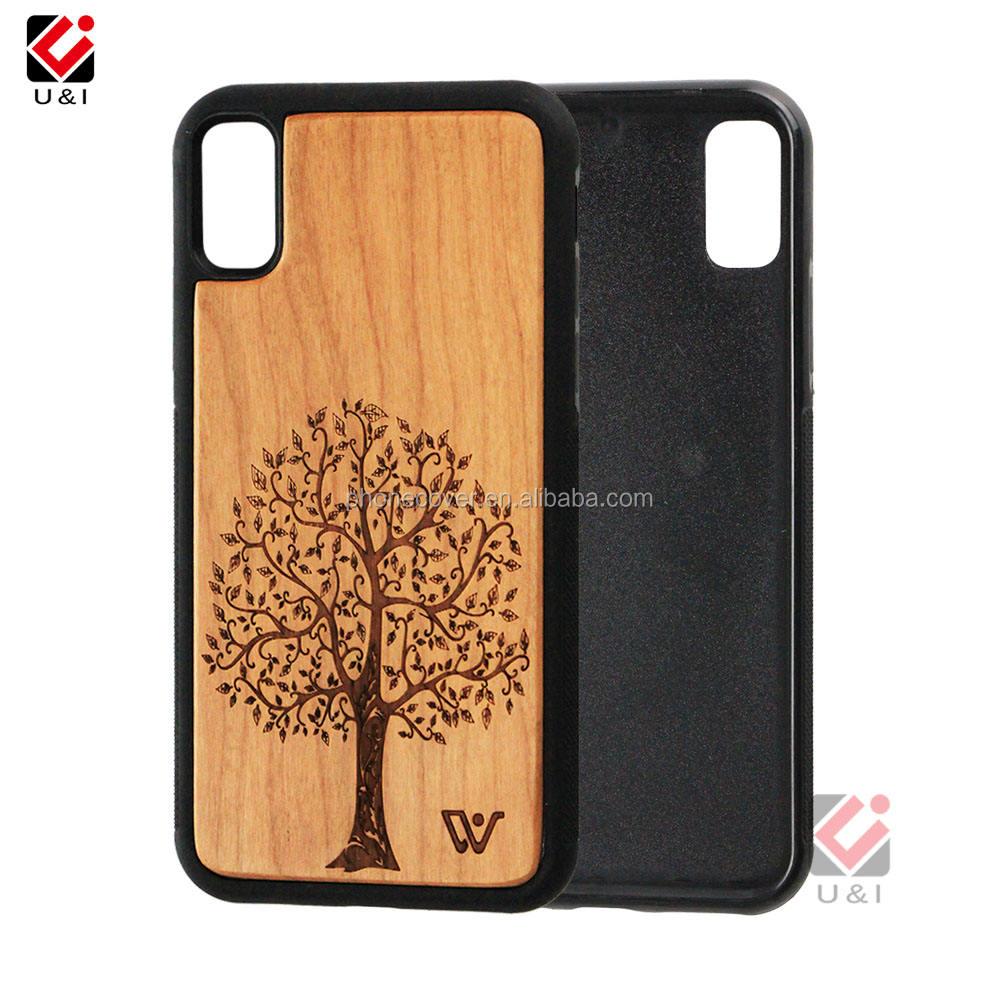 Madera Shell, sublimación teléfono en blanco caso, 360 grados protector caja de teléfono de madera para iPhone X