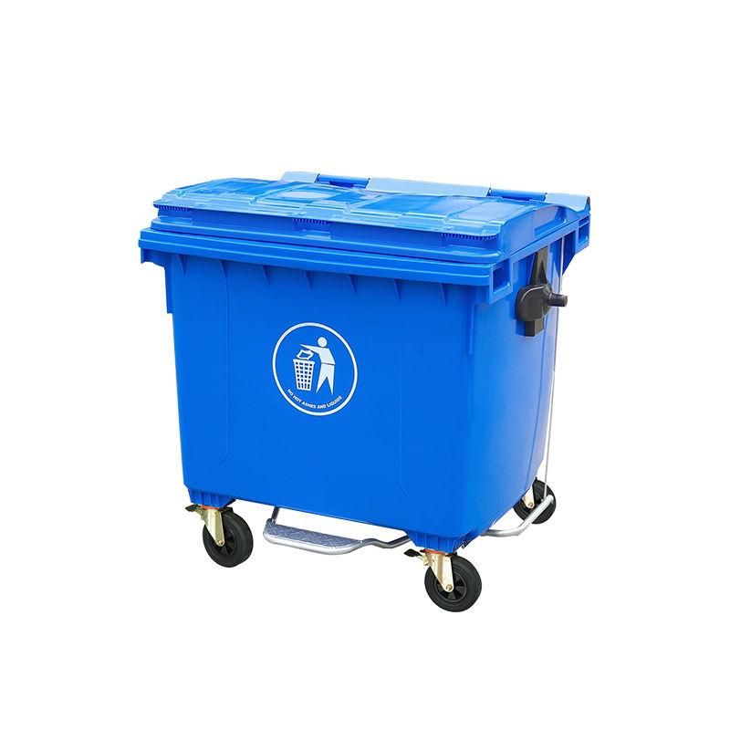 Сертификат ISO колесиках 1100l литровую пластиковую мусорное ведро для парк