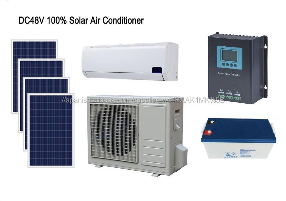 DC48V 100% habitación uso solar aire acondicionado split 12000BTU 18000BTU acondicionador de la instalación de paneles solares