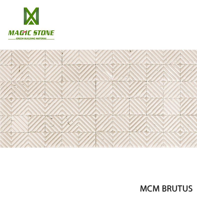 유연한 인테리어 벽 타일 BRUTUS 화이트 예술 돌