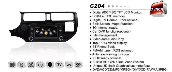 WITSON PARA KIA K3/RIO Carro DVD do carro com S100 A8 Plataforma Chipset