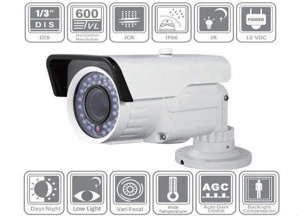 600TVL, 2.8-12mm Vari-focal, IR, DIS, cámara de la bala, sistema de seguridad