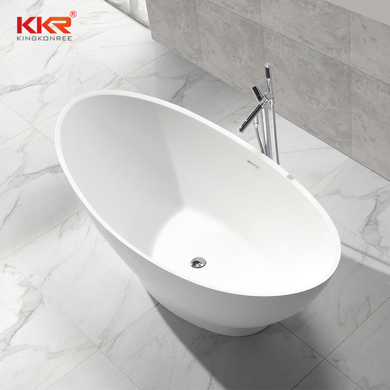 Custom size bathtub luxury bathroom freestanding faux artificial white marble stone acrylic resin solid surface bath tub bathtub