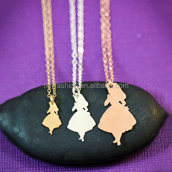 Plata/Oro/Oro Rosa/Colgante Alice in Wonderland Pequeña Niña Joyería Collar Colgante de la Muñeca para Las Niñas