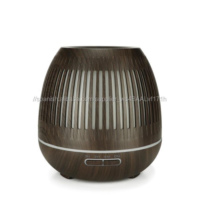 2019 último 400 ml recorte acanalado de madera difusor de aroma ultrasónico aroma humidificador de aire con luz led