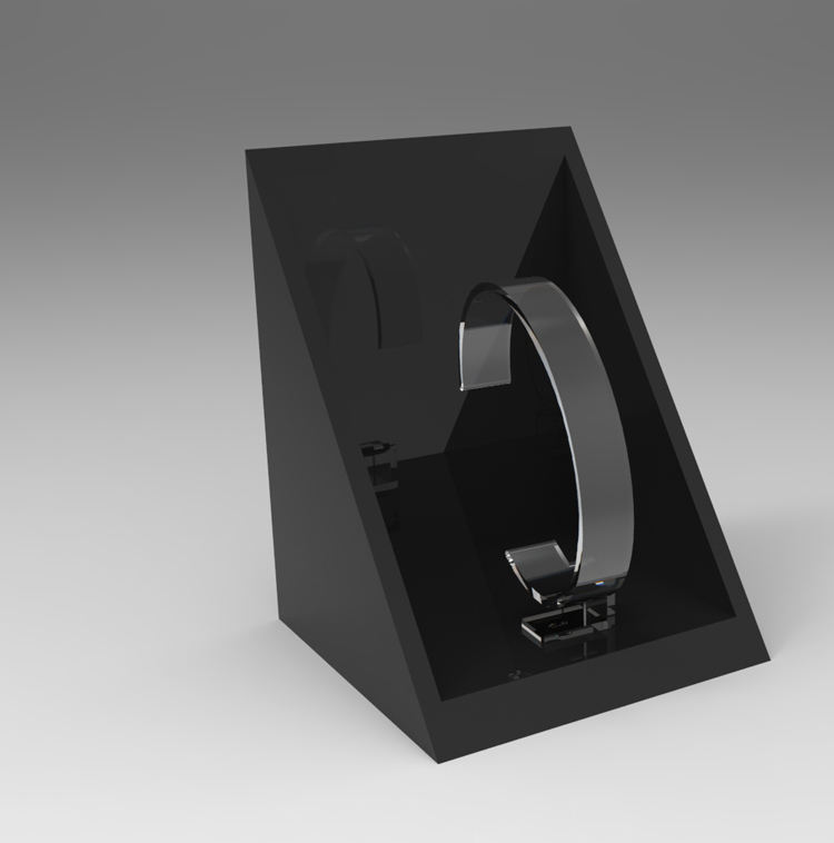Nuevo diseño fabricante de encargo de acrílico <span class=keywords><strong>balck</strong></span> reloj vitrina caja de presentación para los relojes