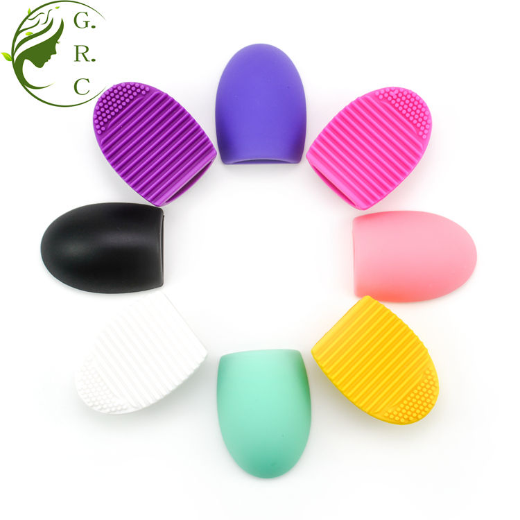 Free Sample Custom Eco-friendly silicone makeup brush cleaner and dryer Egg shape Make up Brush cleaning pad private label