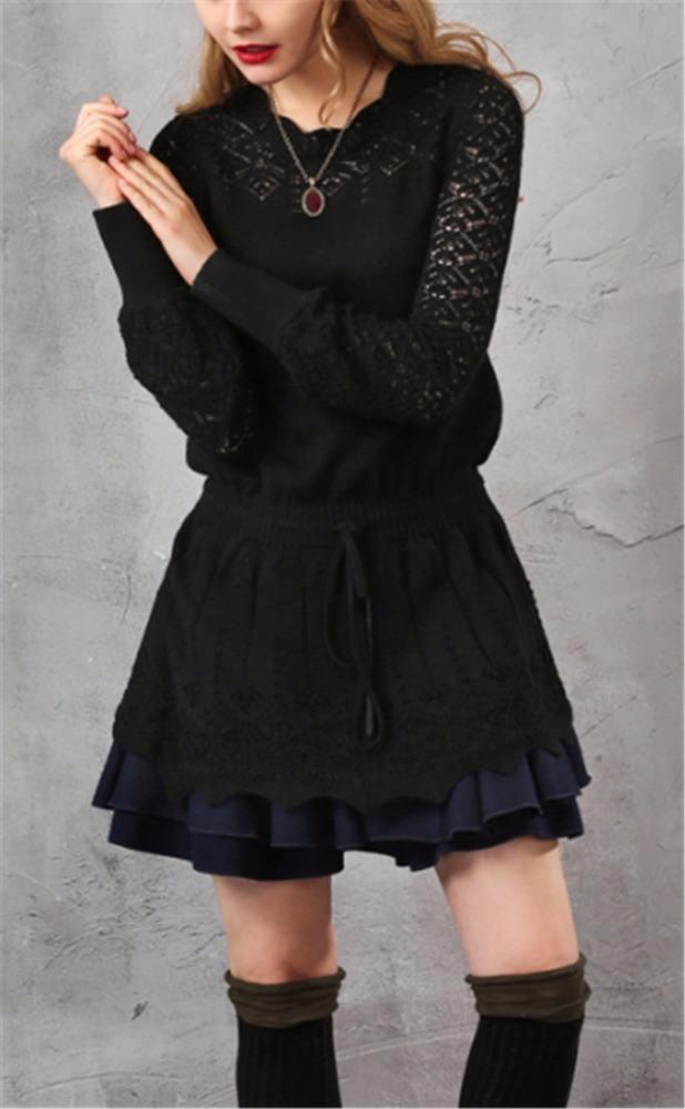 Ретро Цветок Хем Выдалбливают Weave Шерстяной Свитер Мини-Платье, трикотажные длинное платье